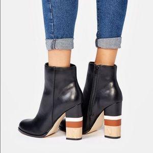 Striped Block Heel Booties (Wide Width)